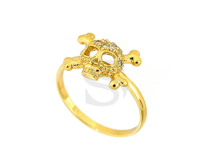 [R0089-53-G] 1 Pcs / Delicate Cubic Zirconia Detailed Skull Ring / Brass / EU:53 , US:6 ½, 16.87mm