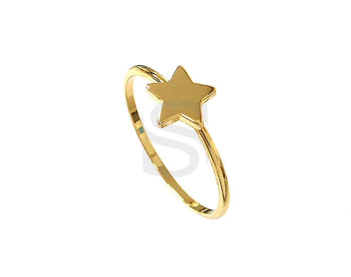 [R0097-53-G] 1 Pcs / Star Ring / Brass / EU:53 , US:6 ½, 16.87mm