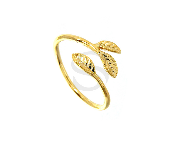 [R0103-G] 1 Pcs / 3 Leaves Adjustable Ring / Brass / 1.5mm