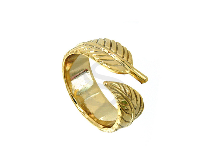 [R0106-G] 1 Pcs / Rolled Feather Adjustable Ring / Brass