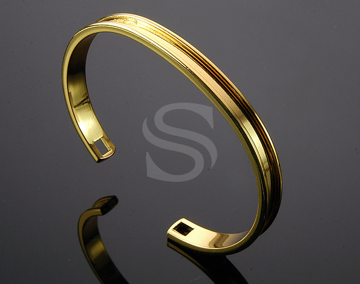 [R0167-G] 1 Pcs / Adjustable Bangle / Brass / 70mm x 51mm