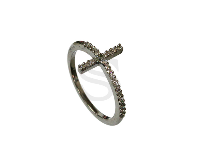 [R0176-51-MOGLCR] 1 Pcs / Delicate Cubic Zirconia Detailed Cross Ring / Brass / EU:51 , US:5 3/4, 16.24mm