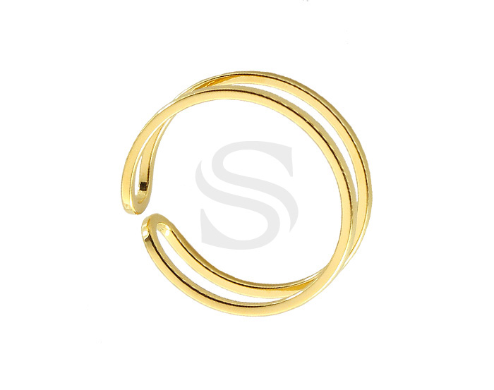 [R0236-G] 2 Pcs / Double Line Ring / Brass