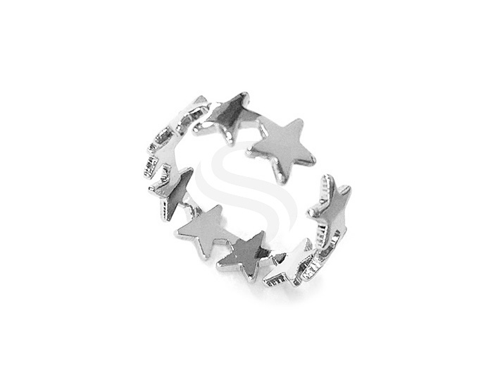 [R0271-RF] 1 Pcs / Star Adjustable Ring / Brass / 6mm