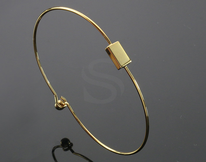 [R0282-G] 1 Pcs / Rectangle detailed Cuff Bangle Bracelet / Brass / Rectangle: 5mm x 8mm