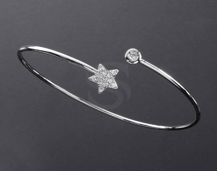 [R0287-RF] 1 Pcs / CZ Detailed Star Cuff Bracelet / Brass / Star : 8mm / Circle : 4.5mm