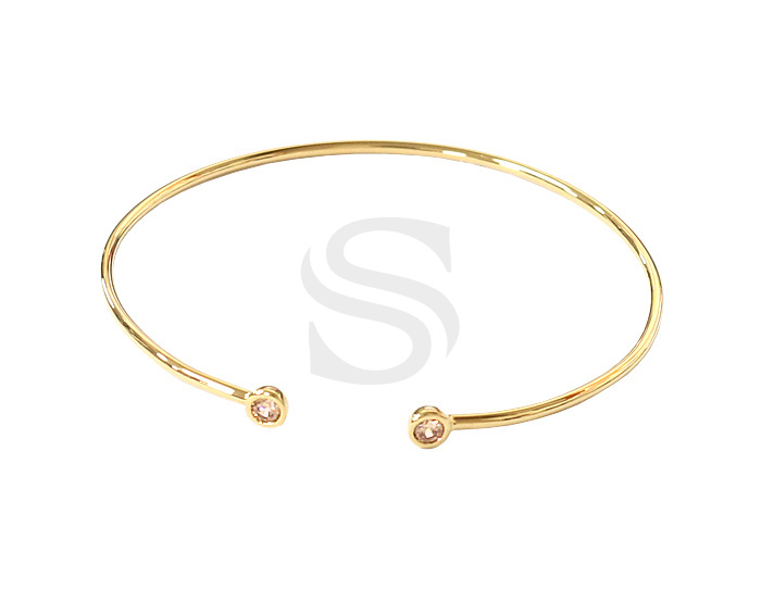 [R0291-GLCTO] 1 Pcs / Double Small Round Cubic Zirconia Detailed Cuff Bracelet / Brass / 65mm