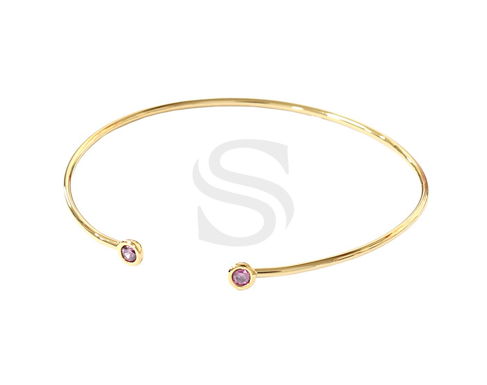 [R0291-GPK] 1 Pcs / Double Small Round Cubic Zirconia Detailed Cuff Bracelet / Brass / 65mm
