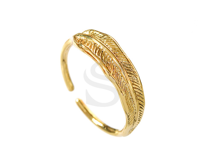 [R0301-G] 1 Pcs / Feather Adjustable Ring / Brass