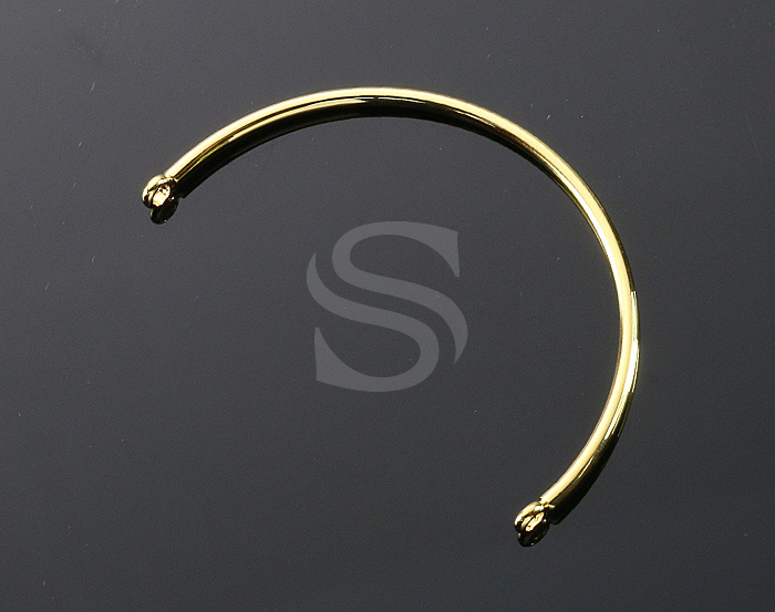 [R0316-G] 1 Pcs / Round Plain Half Bangle Bracelet / Brass / 60mm (thickness : 2mm)
