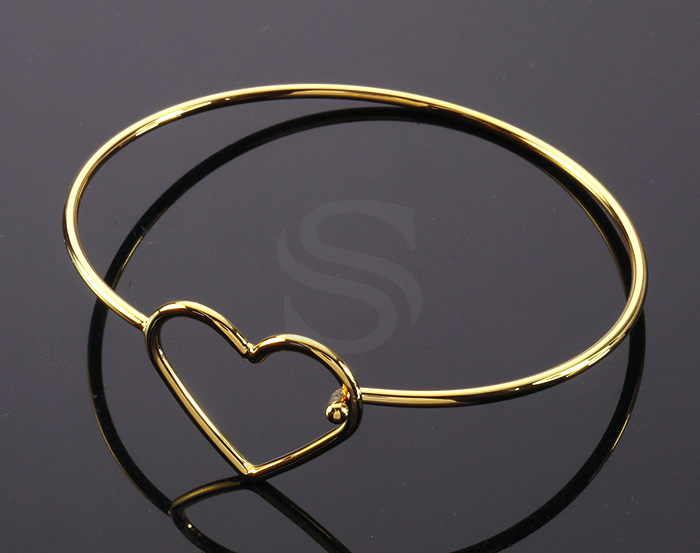 [R0321-G] 1 Pcs / Open Heart Wire Cuff Bangle Bracelet / Brass / 65mm
