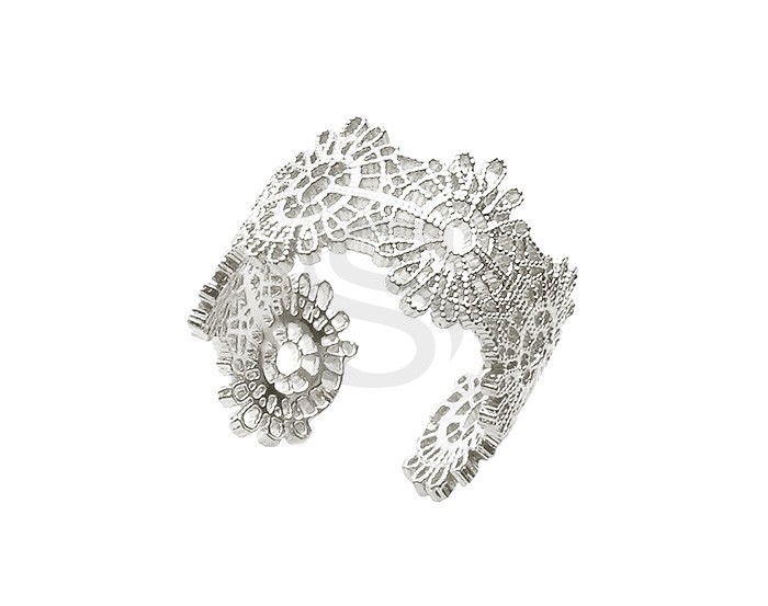 [R0380-ATSS] 1 Pcs / Lace Pattern Adjustable Ring / Brass / H: 12mm
