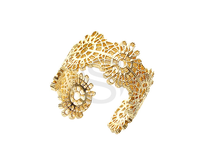 [R0380-G] 1 Pcs / Lace Pattern Adjustable Ring / Brass