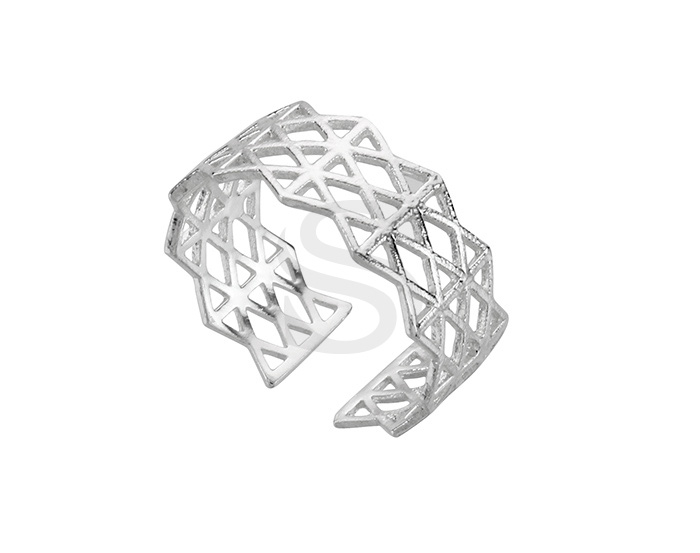 [R0386-ATSS] 1 Pcs / Lace Pattern Adjustable Ring / Brass / H: 8mm