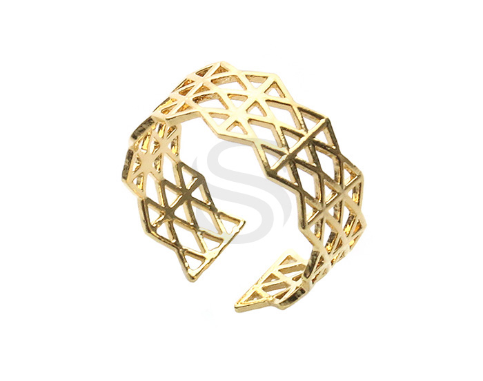 [R0386-G] 1 Pcs / Lace Pattern Adjustable Ring / Brass