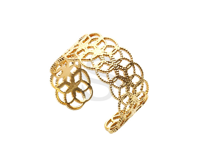 [R0387-G] 1 Pcs / Lace Pattern Adjustable Ring / Brass