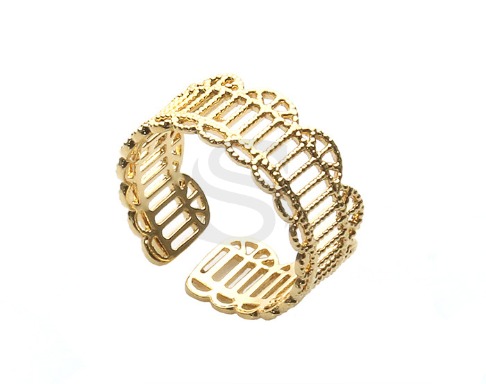 [R0388-G] 1 Pcs / Lace Pattern Adjustable Ring / Brass