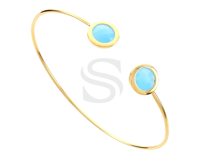 [R0392-GBC] 1 Pcs / Glass Cuff Bracelet Bangle / Brass / 60mm (Cubic : 6.9mm Cubic Thickness : 4.4mm)