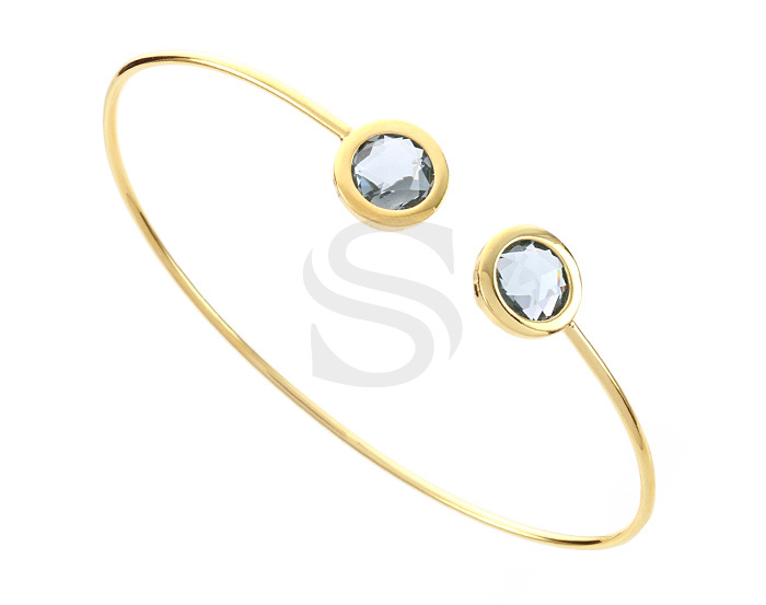 [R0392-GCC] 1 Pcs / Glass Cuff Bracelet Bangle / Brass / 60mm (Cubic : 6.9mm Cubic Thickness : 4.4mm)
