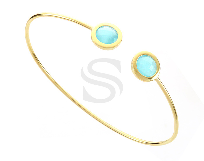[R0392-GPO] 1 Pcs / Glass Cuff Bracelet Bangle / Brass / 60mm (Cubic : 6.9mm Cubic Thickness : 4.4mm)