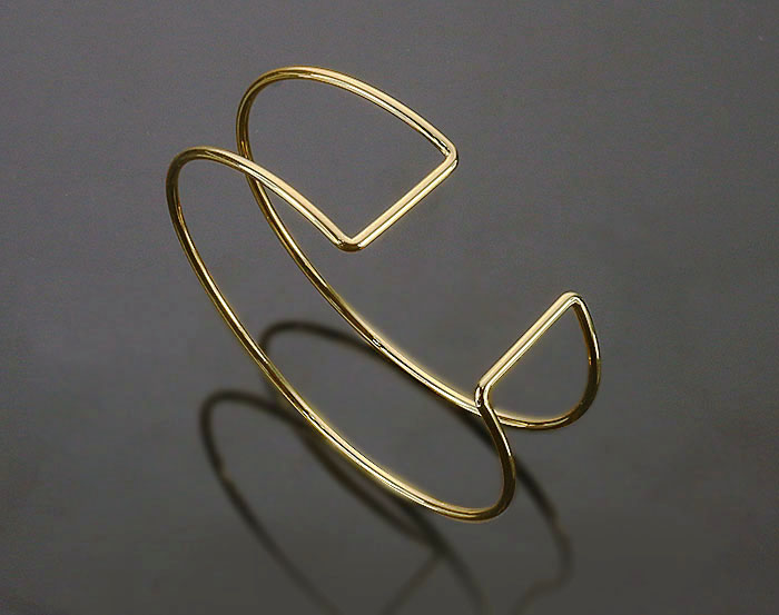 [R0393-G] 1 Pcs / Cuff bangle / Brass / 60mm x 52.9mm ( H:20mm, Thickness : 2.3mm )