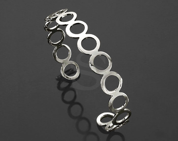 [R0401-ATSS] 1 Pcs / Circles Cuff Bangle / Brass / 63.6mm (H :10.3mm)