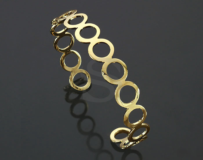 [R0401-G] 1 Pcs / Circles Cuff Bangle / Brass / 63.6mm (H :10.3mm)