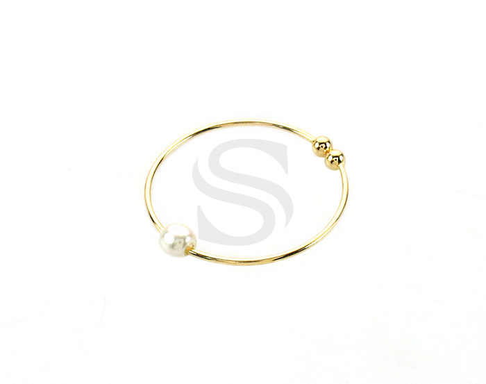 [R0422-D-15-G] 4 Pcs / Pointed Bead Adjustable Plain Ring / Brass