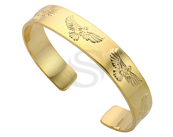 [R0426-G] 1 Pcs / Eagle Pattern Open Bangle Bracelet / Brass / H : 10.5 mm