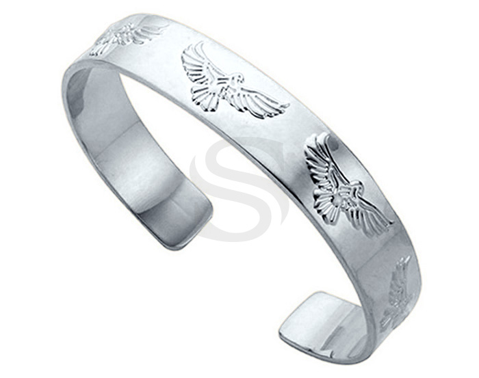 [R0426-RF] 1 Pcs / Eagle Pattern Open Bangle Bracelet / Brass / H : 10.5 mm