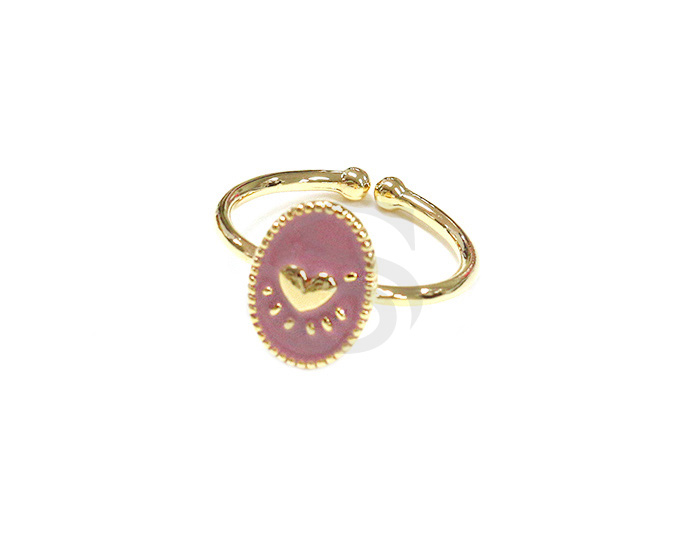 [R2476-GPV] 1 Pcs / Adjustable Heart pattern Oval Ring with Epoxy Resin / Brass / 8.8mm x 12mm