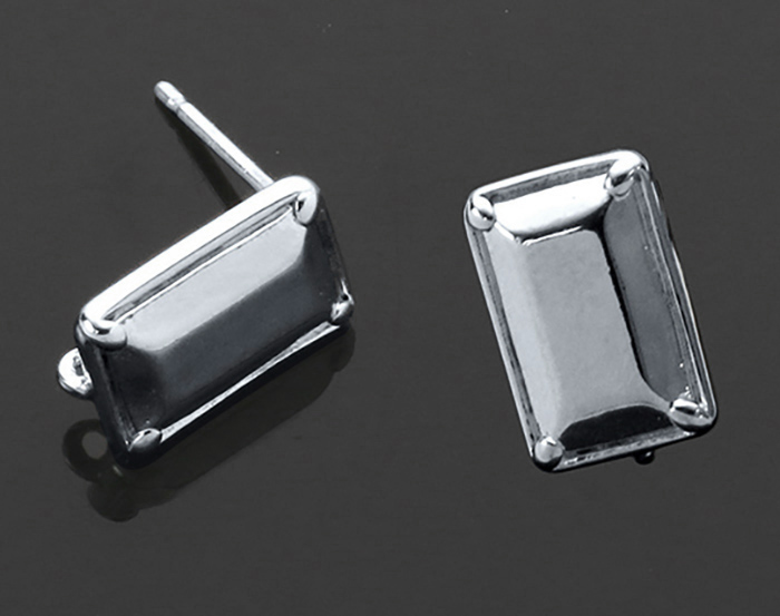 [B1403-E-RF] 4 Pcs / Unique Rectangle Earring / Brass / 7mm x 11.5mm