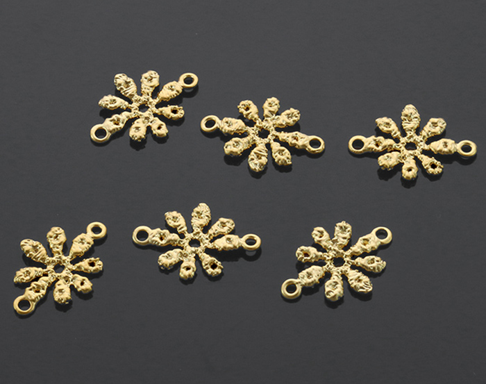 [B1140-C1-MG] 6 Pcs / Bumpy Textured Flower Connectors / Brass / 15mm x 10.5mm