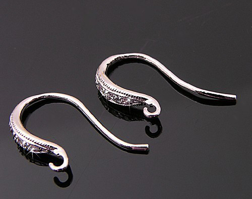 [H0008S-H-RF] 4 Pcs / Swarovski Detailed French Hook Earwires with Elegant Curves Ver.2