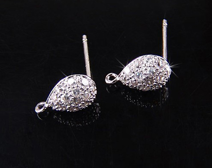 [H0019S-E-RF] 2 Pcs / Puffed Teardrop Stud Earring / 92.5% Sterling Silver / 6.2mm x 10.5mm