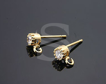 [H0028S-E-GCR] 4 Pcs / Stud Earring - Barss Ear nuts included