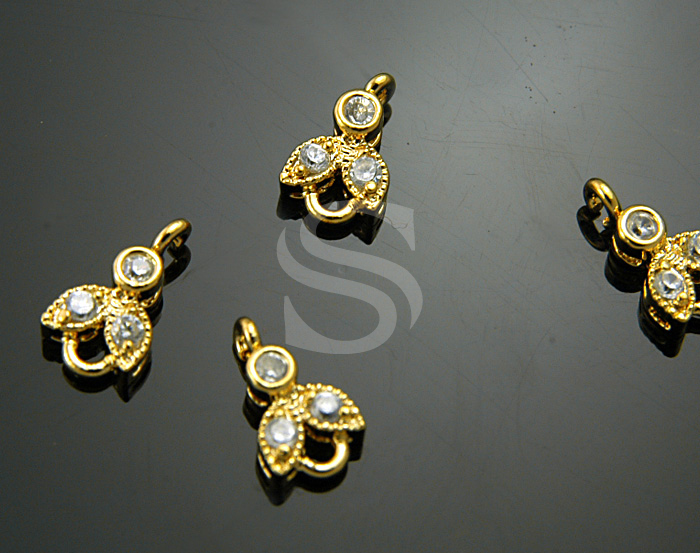 [H0037-C-G] 4 Pcs / Cubic Zirconia Detailed Bee Connector / Brass / 6.5mmx8mm