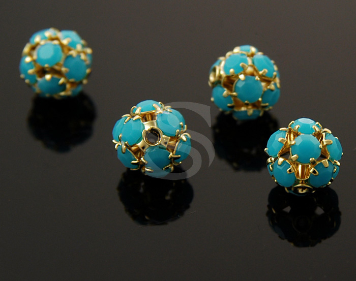 [H0048-C-GBU] 4 Pcs / Adorable ball Beads / 8mm