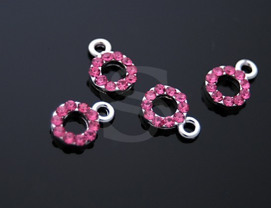 [H0057-P-RP] 4 Pcs / Light Sapphire SWAROVSKI Crystal Detailed Petite Circle Charms