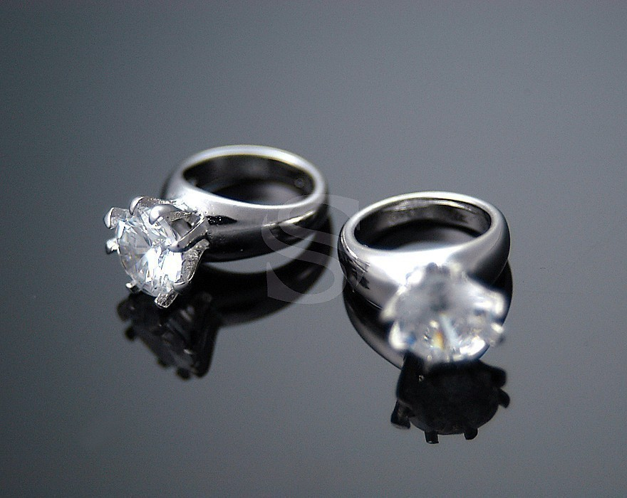 [H0065-P-RFCR] 2 Pcs / Tiffany Prong Petite Rings / Brass + CZ / 9.5mm x 14mm