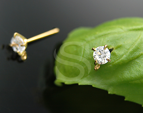 [H0067S-E-GCR] 4 Pcs / Single Glimmering Cubic Zirconia Detailed Stud Earring Findings / 92.5% Sterling Silver + CZ / 5.5mm