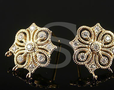 [H0071S-E-GCR] 2 Pcs / Swarovski Detailed Elegant European Style Earrings