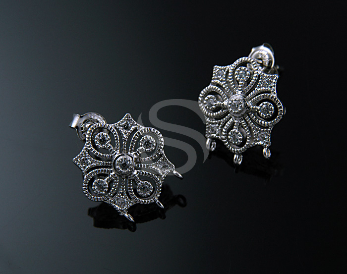 [H0071S-E-RFCR] 2 Pcs / Swarovski Detailed Elegant European Style Earrings