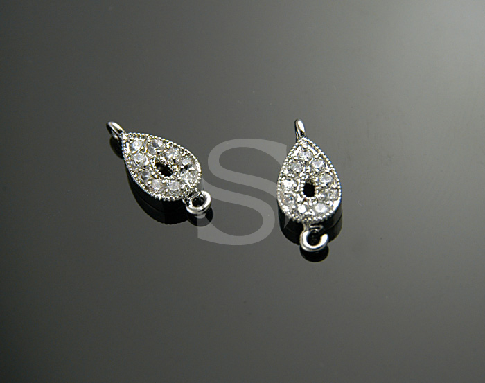 [H0084-C-RFCR] 2 Pcs / Swarovski Detailed Elegant Teardrop Connector