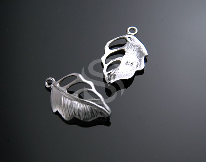 [B0056S-P-RF] 2 Pcs / Leaf Vein Art Connectors / 925 Sterling Silver / 10mmx17mm