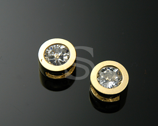 [H0108S-C-GCR] 2 Pcs / C.Z Detailed Flat Bezel Setting Connector / 92.5% Sterling Silver / 6.6mm