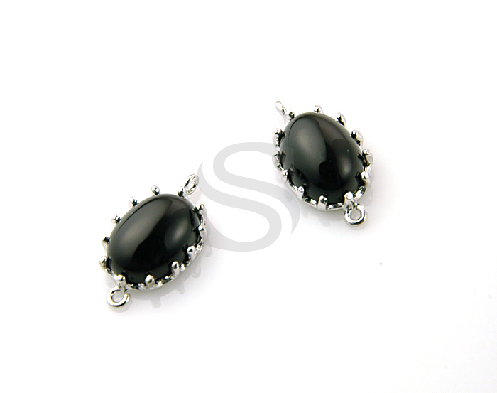 [G0071S-C-ONX] 2 Pcs / Onyx Detailed Oval Connector / 92.5% Sterling Silver / 7mmx13.5mm