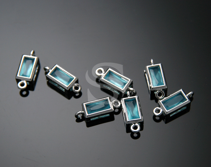 [G0073-C-RFTU] Glass Detailed Bezel Setting Rectangular Connentor / 4.7mm x 12mm