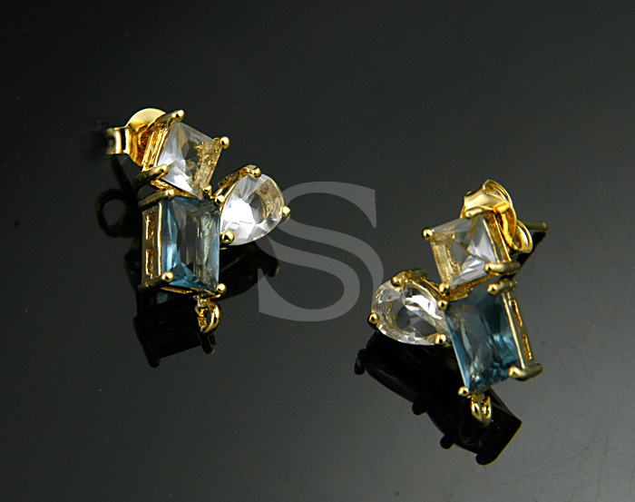 [H0122-E-G] 2 Pcs / CZ Detailed Multi Color, Shape Stud Earrings / Brass / 10.6mm x 15mm