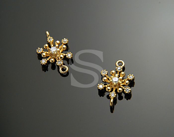 [H0061-C-G] 4 Pcs / Swarovski Detailed Beautiful Snowflake Connector / Brass / 8mmx13mm